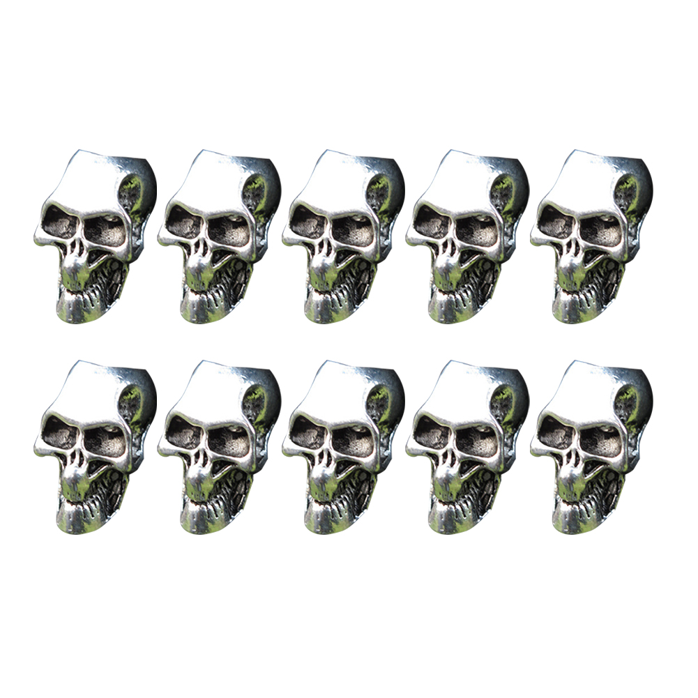 10pcs Paracord Beads Metal Charms Skull For Paracord Bracelet DIY Pendant Buckle For Paracord  Lanyards