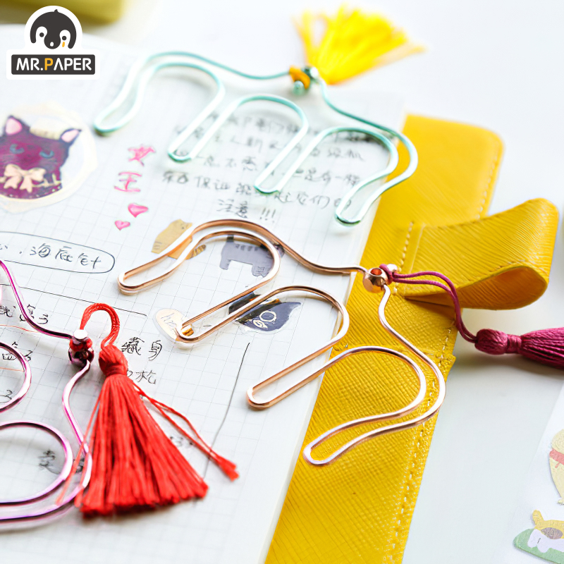 Mr.Paper 5 Colors Fresh Colorful Music Score Simple Design Deco Elegant Metal Clips Large Musical Pinao Bookmark Tassel Clips