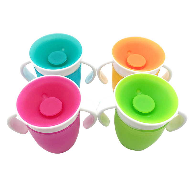 Hot 360 Degrees Can Be Rotated Baby Learn Drinking Cup With Double Handle Flip Lid Leakproof Infants Water Cups Bottle BPA Free