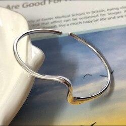 S925 стерлингового серебра моды дикие изогнутые линии Открытый браслет