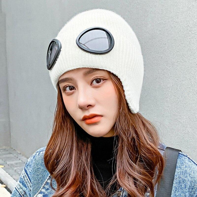 Women's Men's Cap Beanie Wool Hat Children's Winter Fashion Korean Pilot Glasses Version Thickened Knitted Warm Ski Balaclava