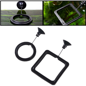 1PC Aquarium Feeding Ring Fish Tank Station Floating Food Tray Feeder Square Circle Accessories Water Plant Buoyancy Suction Cup image
