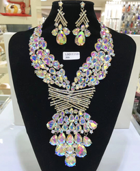 Jewelry Sets Multicolor Bridal Wedding Big Crystal Dubai Gold Jewelry Sets for Women Necklace Earrings