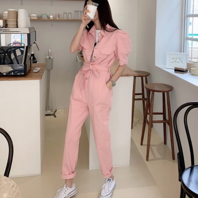 High Quality 2020 Casual Jumpsuits Overalls Rompers Womens Jumpsuit Short Sleeve Summer Single-breasted Long Pants Female