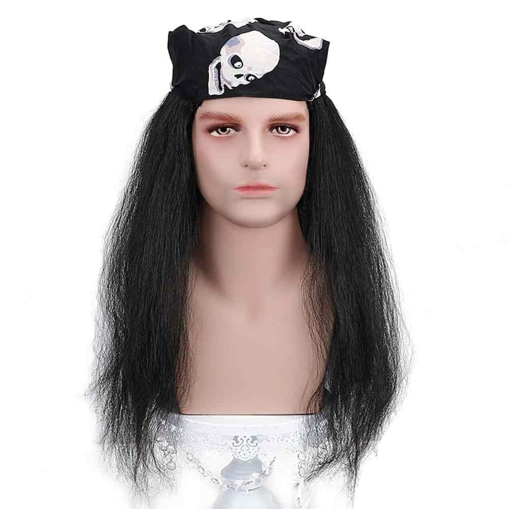 Darmowe uroda 20 ''długie kręcone czarne syntetyczne Punk Rock szalony kolczaste fantazyjne śmieszne puszyste wampir Hippie peruka dla mężczyzn party Halloween
