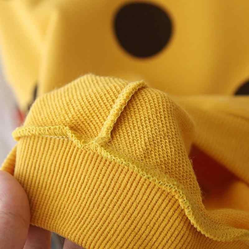 한국어 아기 키즈 여자 운동복 성격 코튼 긴 소매 스 플라이 싱 가을 도트 인쇄 프릴 라운드 넥 점퍼