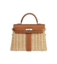 Женская сумка, роскошные сумочки, плетеные сумки через плечо из ротанга для женщин, пляжные сумки из натуральной кожи, оригинальный брендовый дизайнерский женский саквояж 2019