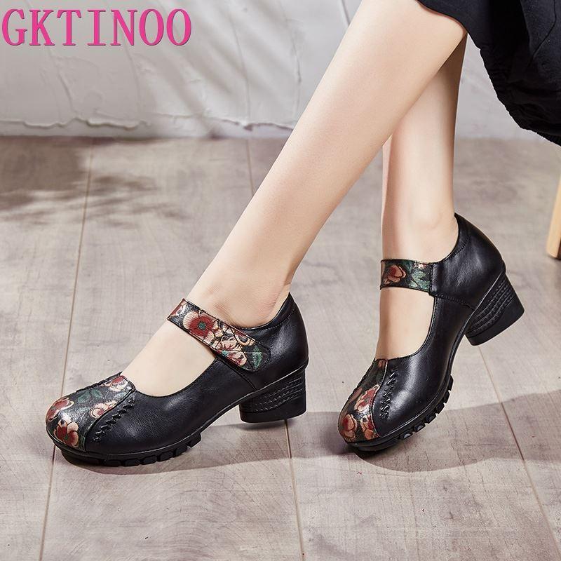 GKTINOO Women Pumps Genuine Leather High Heel Shoes Genuine Leather Thick Heels Handmade Shoe Vintage Style
