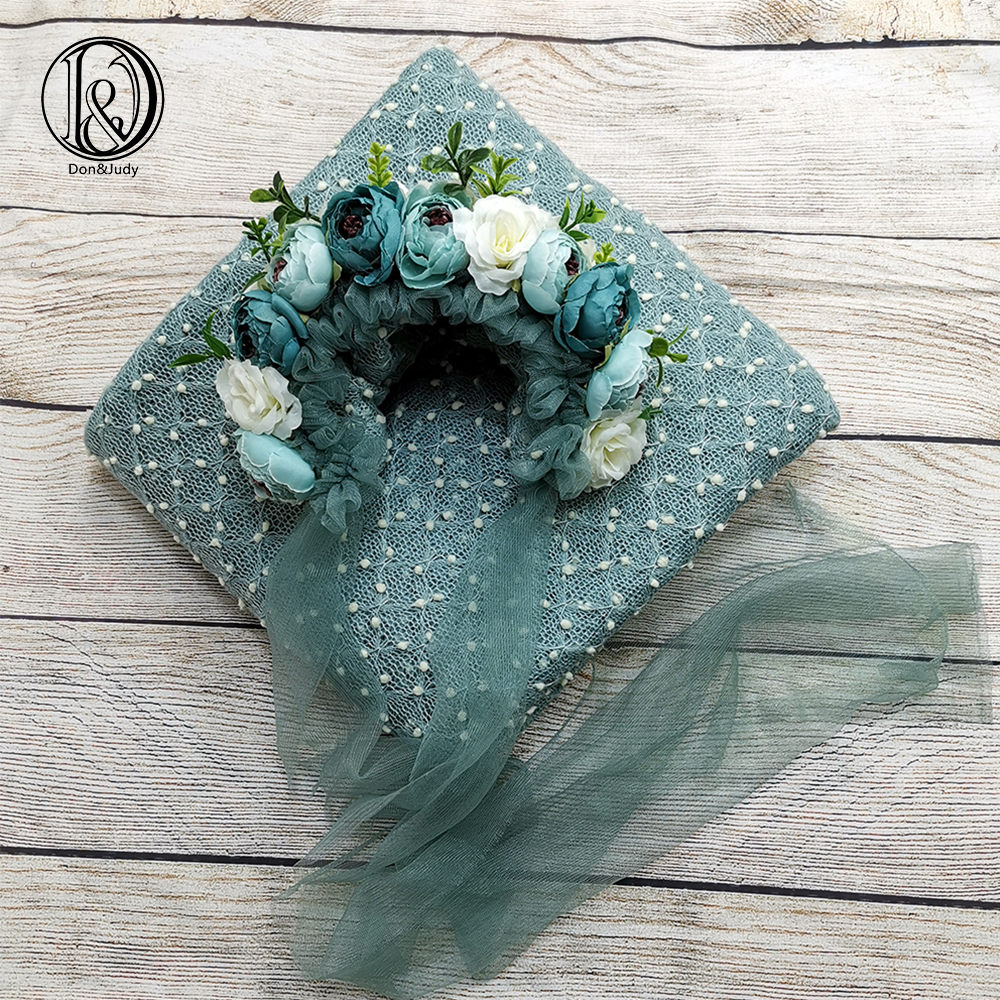 Don&Judy Newborn Photo Shoot 2pcs/set Fabrics Backdrop Blanket + Newborn & Sitter Bonnet Hat For Photography Prop Accessories