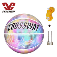 CROSSWAY Holographic Reflective Basketball Ball Sports Wear-Resistant Luminous Night Glowing child Basketball Ball With Free Net
