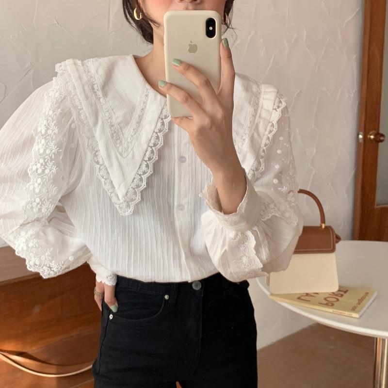Alien Kitty 2020 New Arrival Elegant Tops Women Shirt Lace Stitching Lantern Sleeve Doll Collar Korean Style Loose Blouse Blusas