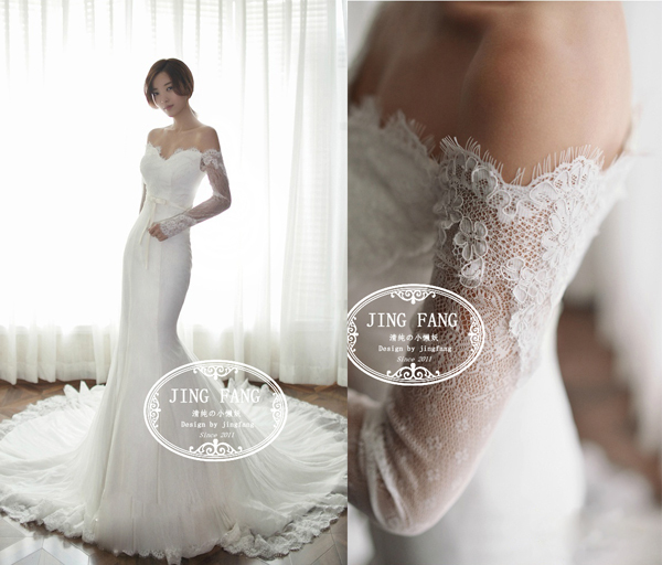 Bridal Gown Romantic New Fashionable Sexy Long Sleeve Vestido De Novia Casamento Lace Mermaid Wedding Dress 2014 Free Shipping