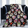 Day Of The Dead Sugar Skull Printed Blankets Throws for Girls Boys Children's Kids Gift Home Bedroom Decoration Flannel