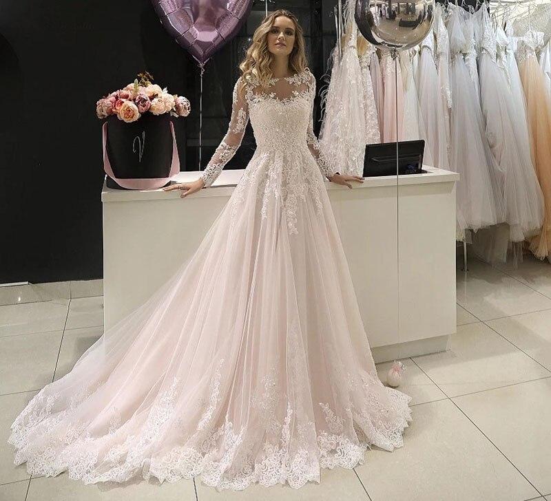 Румяные розовые кружевные свадебные платья 2020, длинные рукава, аппликации, расшитые бисером и блестками, на пуговицах, свадебные платья BOHO,