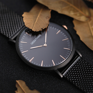 Image 3 - UltraบางนาฬิกาQUARTZ Mens Casualสีดำญี่ปุ่นควอตซ์นาฬิกาสแตนเลสไม้FaceนาฬิกาชายRelogio Masculinoใหม่
