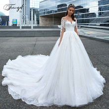 Traugel Scoop A Line Lace Wedding Dresses Delicate Applique Long Sleeve Button Bride Dress Cathedral Train Bridal Gown Plus Size