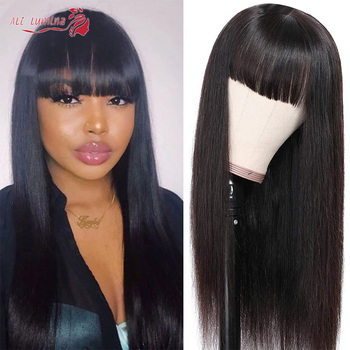 Wig With Bang Straight Lace Front Wig Bang With Human Hair Wigs For Women 150% Density Remy Hair 13x4 Lace Wig 10-30Inch Wig
