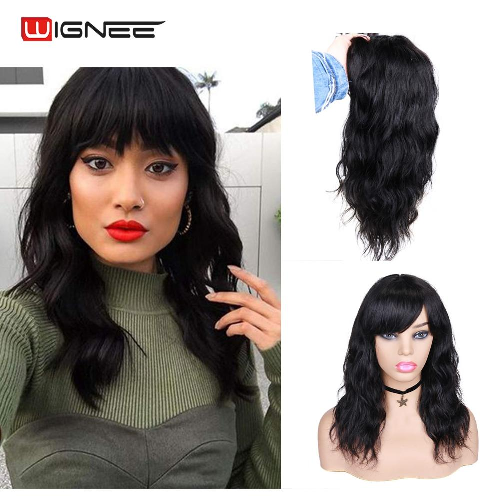 Wignee Human Hair Wig With Free Bangs For Black Women Remy Brazilian Hair Glueless 150% Density Natural Wave None Lace Human Wig