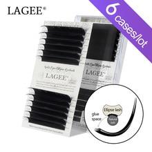 LAGEE 6 케이스 플랫 타원형 속눈썹 확장 스플릿 팁 자연광 가짜 속눈썹 가짜 밍크 벌크 B C D 믹스