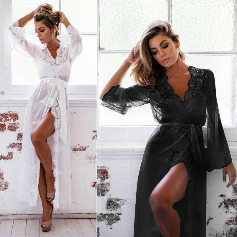 Babydoll Long Lace Robe Night Womens Lingerie Gown Bathrobe Dress Sexy Sleepwear