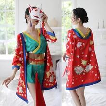 Pajamas Set Dress-Set Lingerie Robe Sleepwear Nightgown Satin Japanese-Style Women Kimono