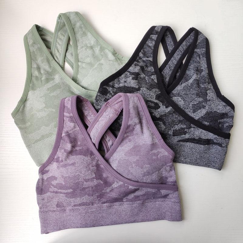 Nepoagym Bra Seamless-Bra Yoga-Top Sports-Shirt Push-Up High-Impact Padded Women Camo