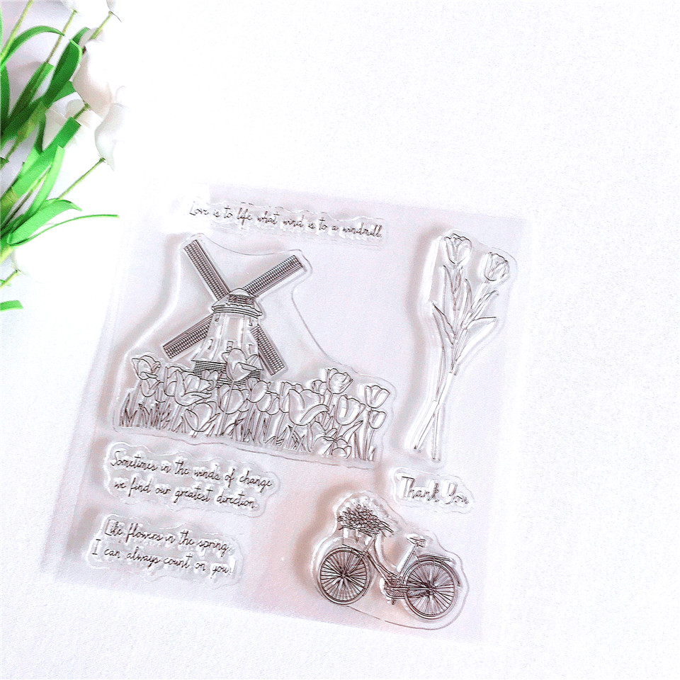 Dutch Windmills  Tulip Craft Transparent Silicone Stamp For Scrapbooking Cards Making DIY Photo Album Decorative Clear Stamps