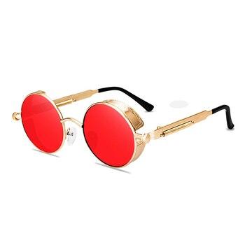 Classic gothic steampunk sunglasses men women retro round glasses fashion goggles metal spring foot