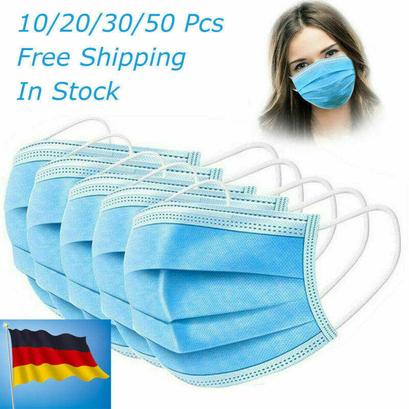 1/5/10/20/30/50pcs Wholesale Face Mask 3 Ply Disposable Anti-Bacteria Ear Loop Face Masks Anti-Virus Dust Mouth Mask Dropship