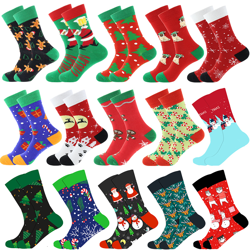 Christmas Tree Snow Elk Gift Cotton Happy Socks PEONFLY New 2019 Autumn Winter Christmas Socks Men Funny New Year Santa Claus