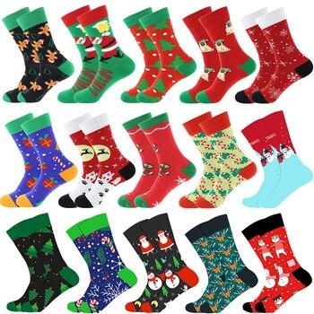 Christmas Tree Snow Elk Gift Cotton Happy Socks PEONFLY New 2020 Autumn Winter Christmas Socks Men Funny New Year Santa Claus