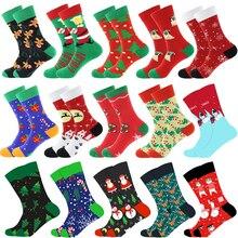 Christmas Tree Snow Elk Gift Cotton Happy Socks PEONFLY New