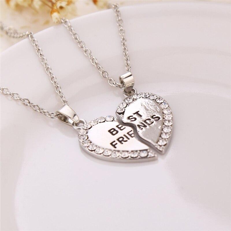Unisex 2 Pcs BFF Necklace Women Crystal Heart Pendant Best Friend Letter Necklace Fashion Couple Necklace Men Friendship Jewelry 1