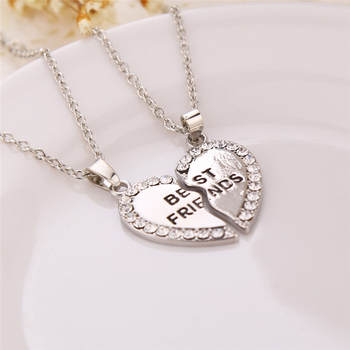 Unisex 2 Pcs BFF Necklace Women Crystal Heart Pendant Best Friend Letter Necklace Fashion Couple Necklace Men Friendship Jewelry 1
