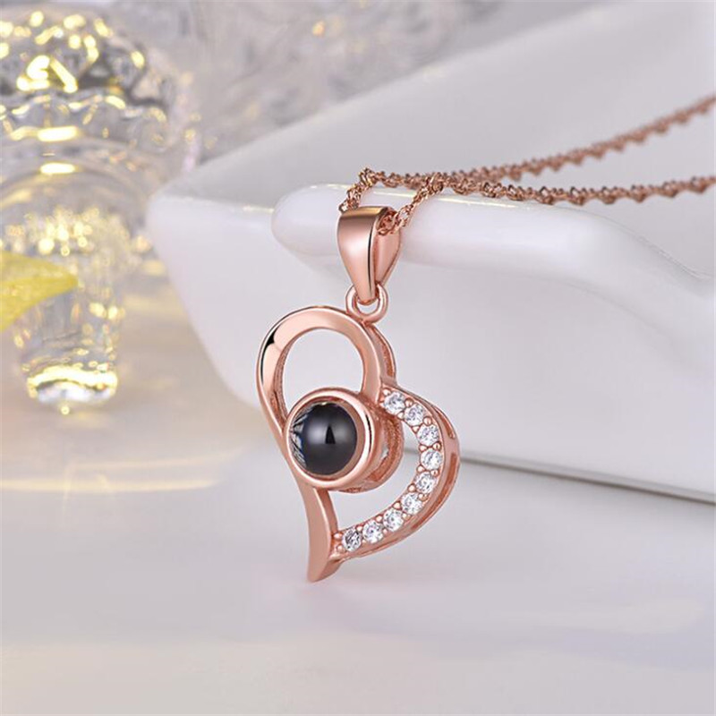 H50cee7c050a34967aa3187cdcff9a290O - Rose Gold 100 languages I love you Projection Pendant Necklace Romantic Love Memory Wedding Necklace