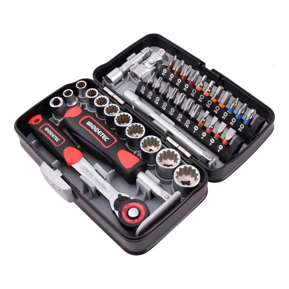"""Meterk 38 sztuk Mini zestaw kluczy z grzechotką 1/4 """"gniazdo klucz śruba zestaw bitów zestaw narzędzi Bike konserwacja narzędzie do napraw ręcznych"""