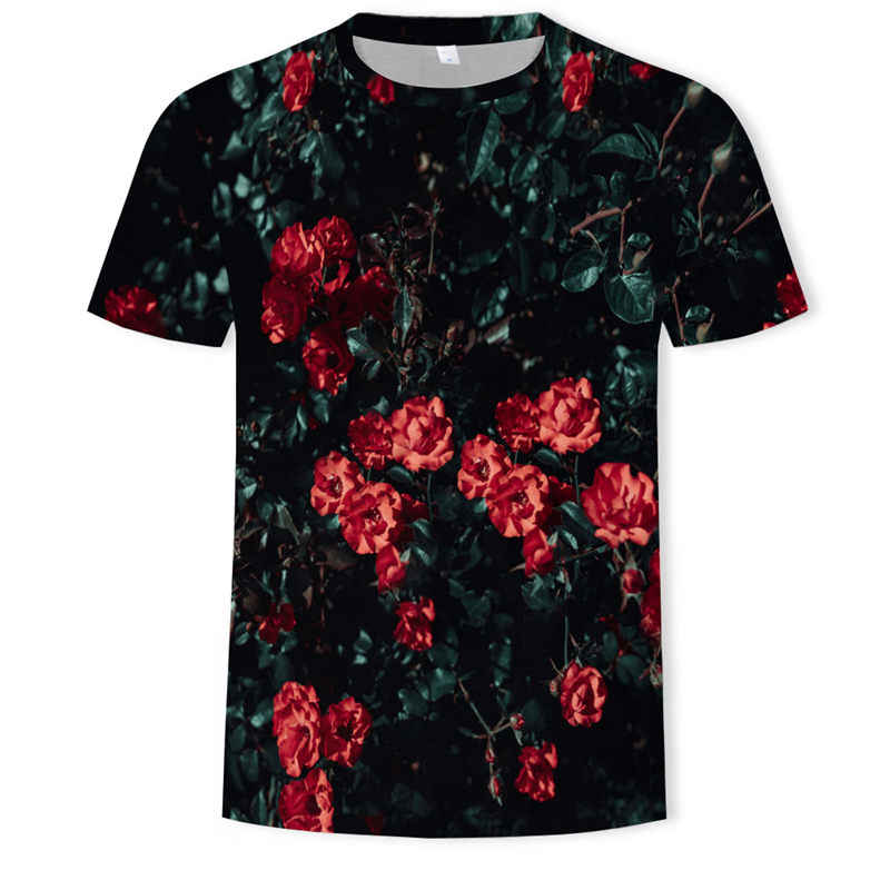 夏の新ファッション男性の女性 3D プリントローズフラワー Tシャツ半袖ヒップホップトップ原宿プルオーバー 2019