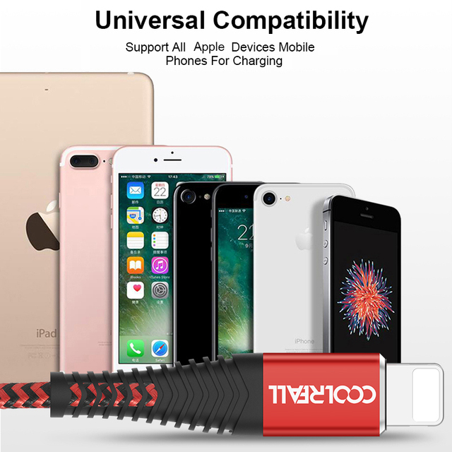 Coolreall USB Cable for iPhone 11 pro max Xr X 8 7 6 plus 6s 5 s plus iPad 2.4A Fast Charging Cable Cord Mobile Phone Data Cable 5