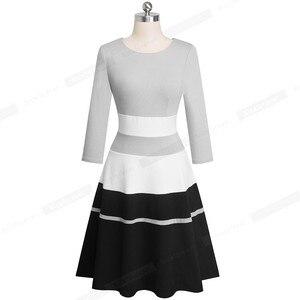 Image 4 - Женское лоскутное платье Nice forever, элегантное контрастное деловое вечернее платье трапеция в стиле ретро, модель A173 на зиму, 2019