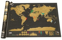 Deluxe Erase Black World Map Scratch off Personalized Travel for Room Home Decoration Wall Stickers