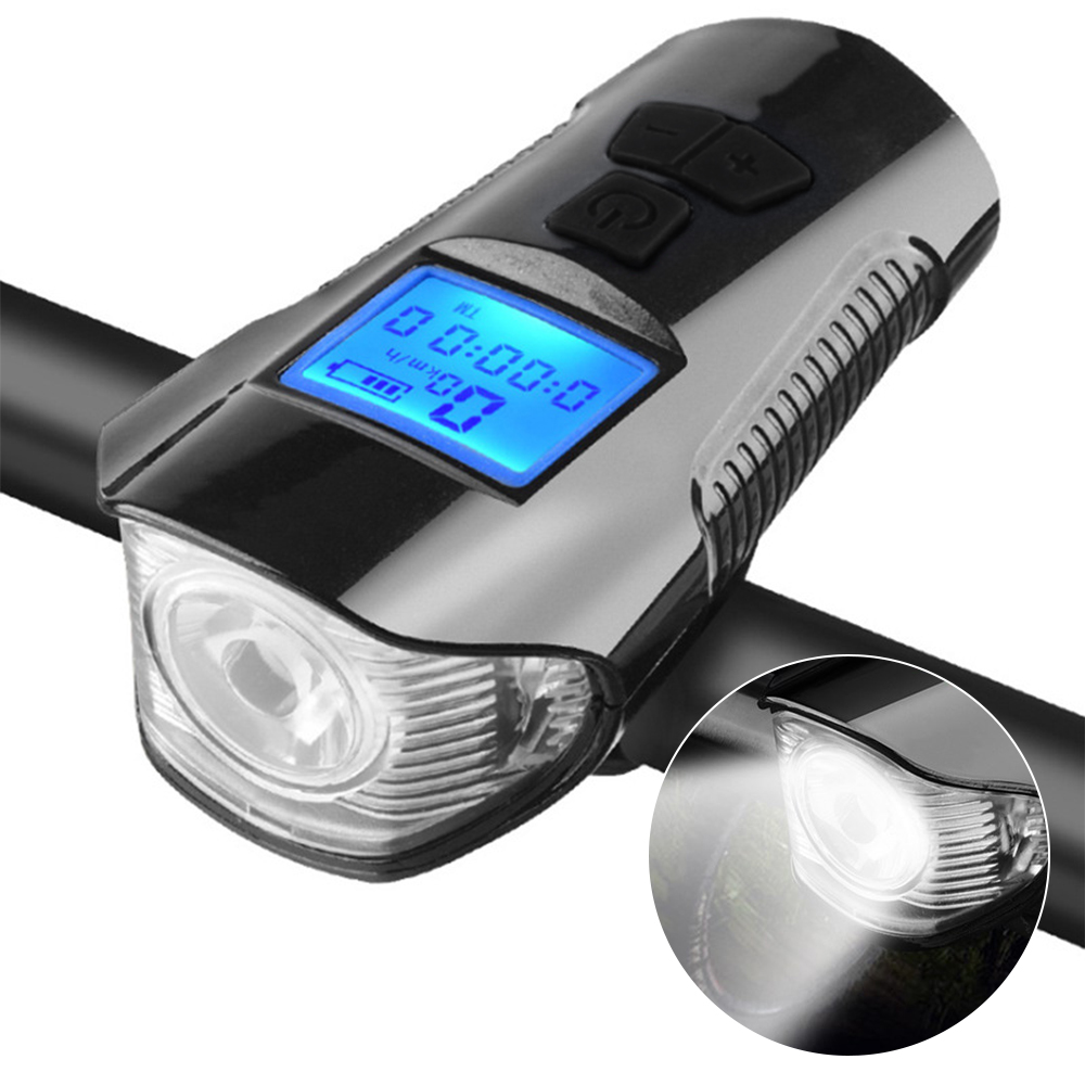 Bicycle Light Computer Speedometer Lights USB Rechargeable Bike Front Light Flashlight LED Warning Cycling Portable Light