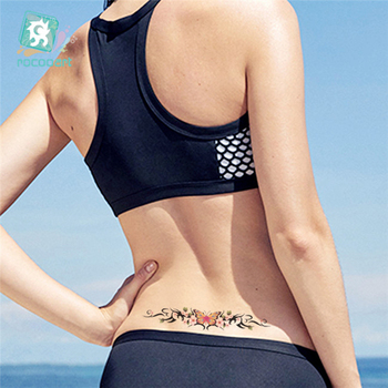Hot Sale 2020 Butterfly Flower Girls Temporary Tattoo Black Design Waist Body Fake Tattoo Sticker Leg Belly Waterproof For Women 3