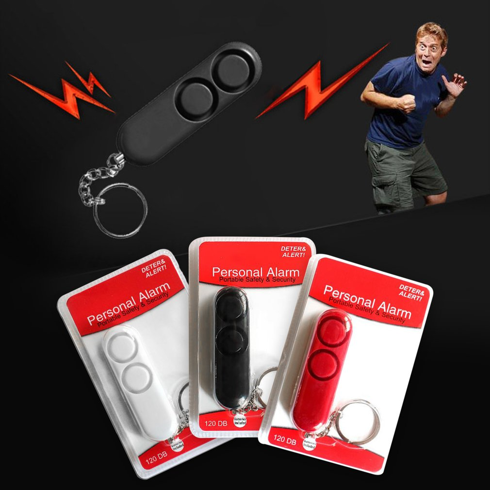 120dB Personal Alarm Anti-rape Device Dual Speakers Loud Alarm Alert Attack Panic Safety Personal Security Keychain