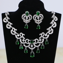 Bridal Jewelry Cubic-Zirconia Necklace Pendant Wedding-Earrings Crystal Water-Drop Silver-Color