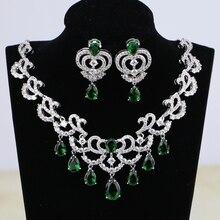 כסף צבע כלה תכשיטי טיפת מים ירוק מעוקב Zirconia לבן קריסטל חתונת נשים עגילי תליון שרשרת