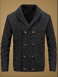Британский новый мужской осенний и зимний двубортный зеленый фруктовый шерстяной свитер с отворотом Корейский мужской свободный толстый п...