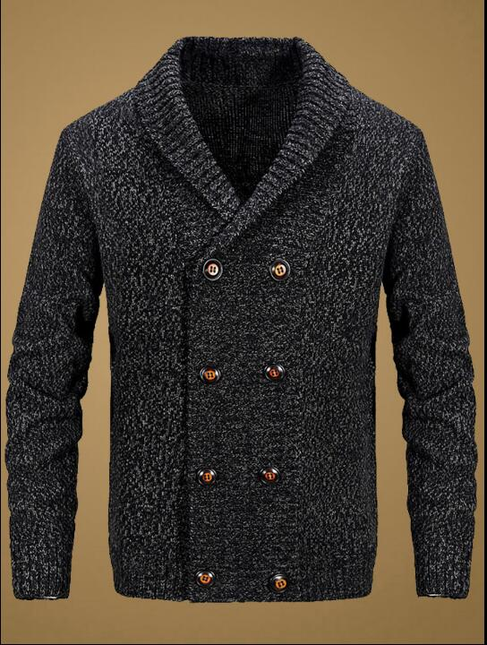 British New Men's Autumn And Winter Double-breasted Green Fruit Lapel Wool Knit Sweater Korean Men's Loose Thick Coat