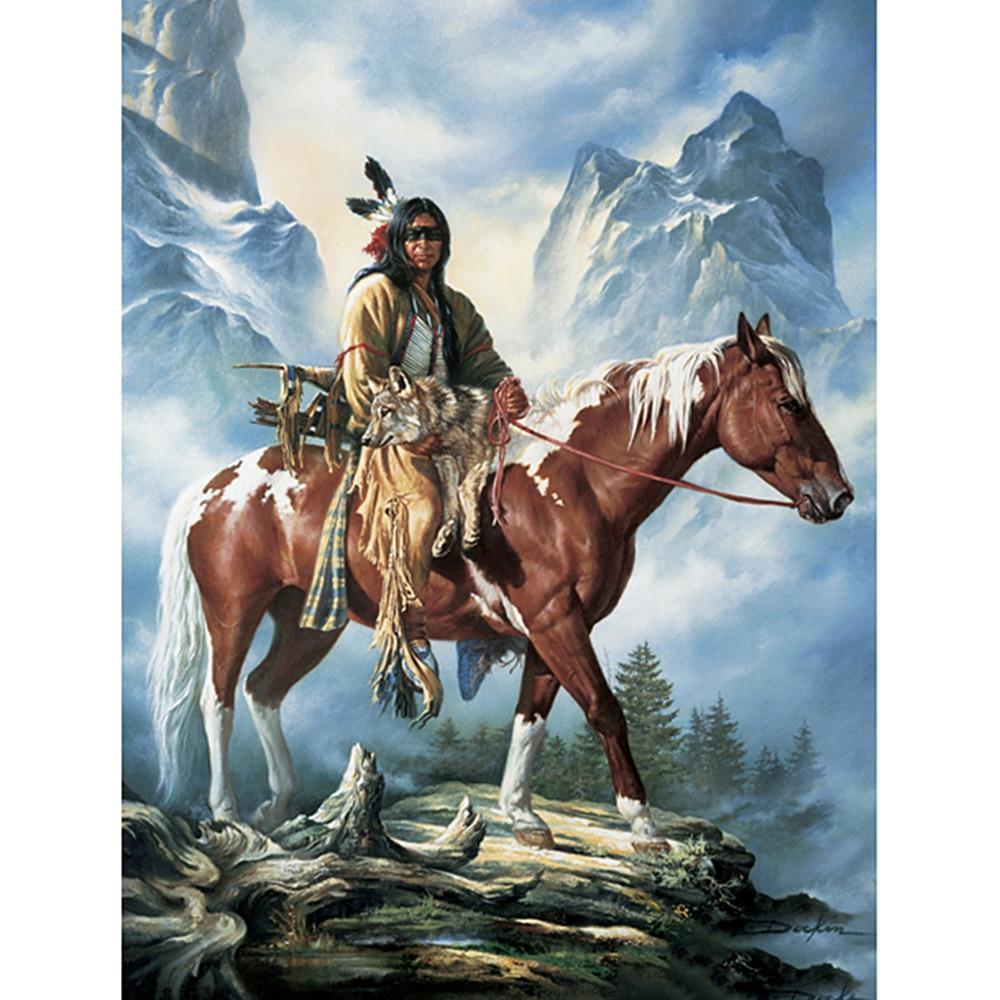 Алмазная 5D картина «индейцы и лошади», полноразмерная/круглая вышивка, вышивка крестиком, домашний декор, подарок, «сделай сам»