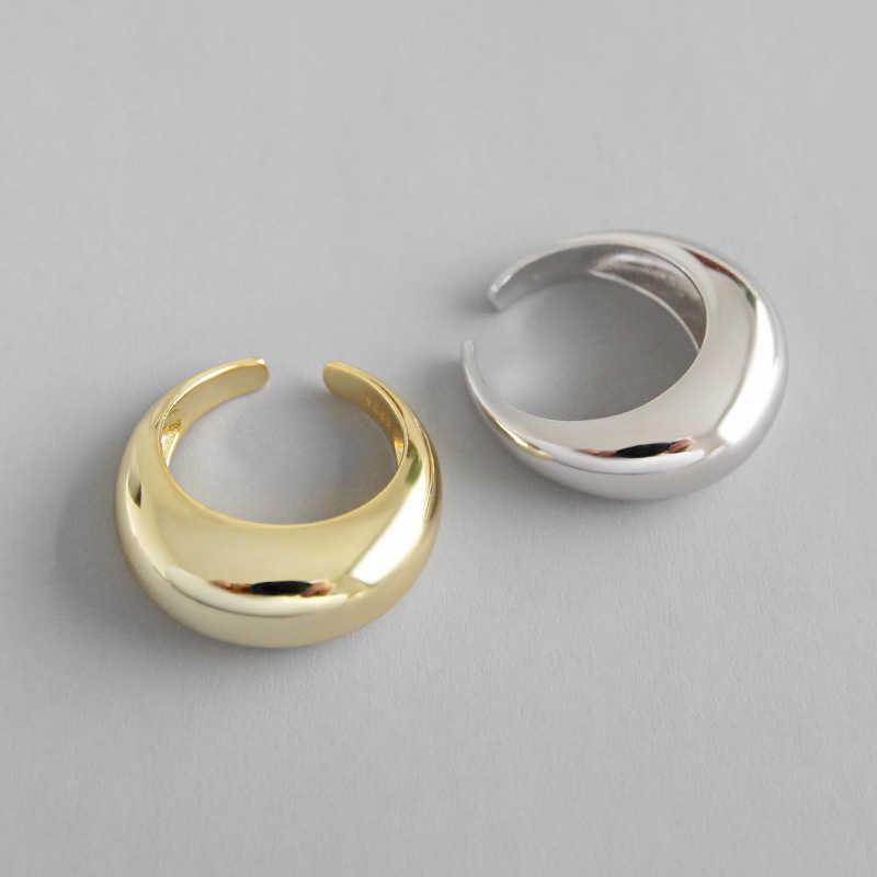 Peri'sBox 925 เงินสเตอร์ลิงรูปทรงเรขาคณิตแหวนไม่สมมาตร CLASSIC Bold Gold แหวนที่ไม่ซ้ำกัน Chunky แหวนเครื่องประดับ Minimalist
