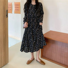 2020 Spring Summer Women Dress Plus Size 4XL Ladies Vintage Print Long Sleeve Dress Mid-Long Robe Black Color Brand Clothing(China)